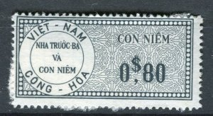 VIETNAM; Early CONG-HOA revenue issue Mint unused 80c. value ( paper adhesion)