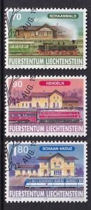 Liechtenstein   #1104-1106   cancelled 1997  railway   train stations
