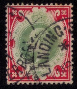 Great Britain Sc #138 1 Shilling/KEVII Used Carmine & Dull Green Very Fine