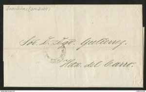 J) 1868 MEXICO, BLACK SEAL, COMPLETE LETTER, CIRCULATED COVER, INTERIOR MAIL WIT