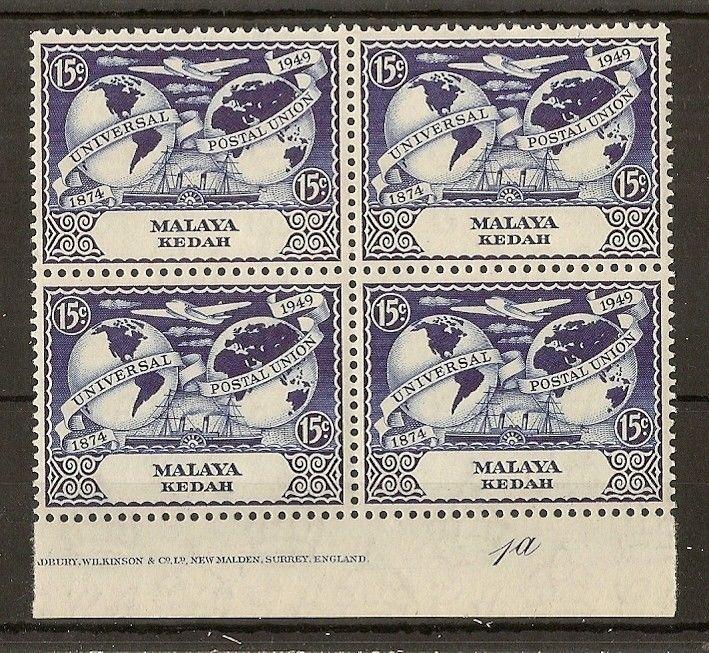 Kedah 1949 15c UPU MNH Block Plate 1a