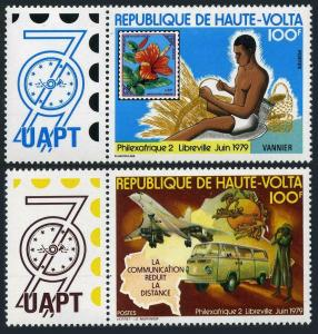 Burkina Faso 496-497,lightly hinged. PHILEXAFRIQUE-1979.Flower,Concorde,UPU,map.