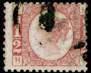 SG49, ½d rose PLATE 13, USED. Cat £22.