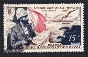 Fr. Eq. Africa Birds Birth Centenary of Count de Brazza 1v 15f canc SG#270