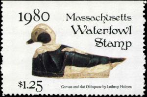 MASSACHUSETTS #7 1980 STATE DUCK OLDSQUAW DECOY by John Eggert