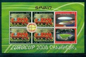 St. Vincent  #3631 (2008 Euro Soccer - Spain Champion sheet of 6) VFMNH CV $6.50