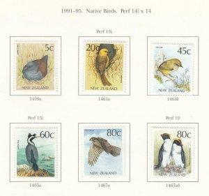 NEW ZEALAND # 1023-26,1038-43 ++ VF-MH 1991 ROCKS, TUATARA & NATIVE BIRDS CV $16