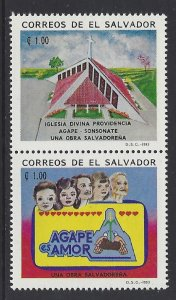 EL SALVADOR AGAPE SOCIAL WELFARE ORG, CHURCH, PEOPLE Sc 1344 PAIR MNH 1993