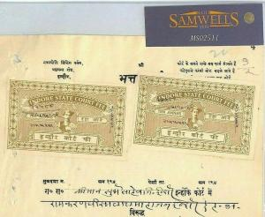India States INDORE Document REVENUES 2 x 10a Court Fee {samwells-covers}MS2511*