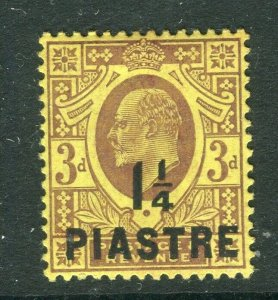 BRITISH LEVANT; 1910 early Ed VII issue fine Mint hinged 1.25Pi surcharged