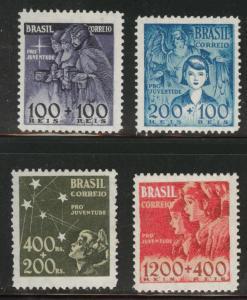 Brazil Scott B8-B11 MH* 1939-40  semi-postal set CV$12