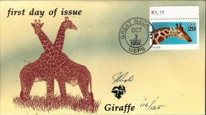 Beautiful Pugh Designed and Painted Giraffe FDC -only 125 created...