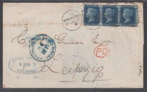 Great Britain Sc 29 (Plate 8) strip of 3 on 1871 Cover, Manchester-Leipzig