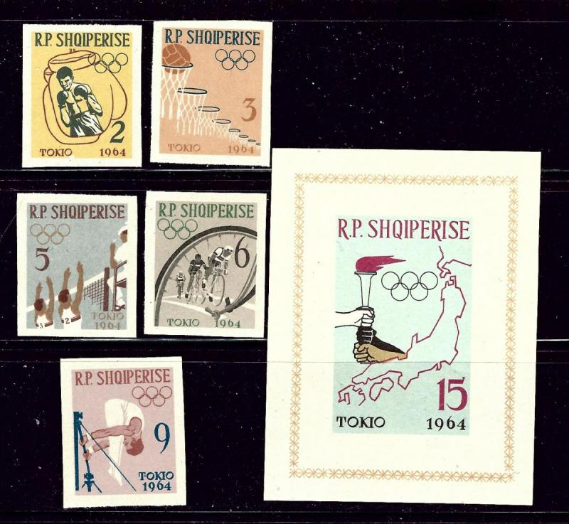 Albania 666-71 MNH 1963 Olympics Imperf set with S/S