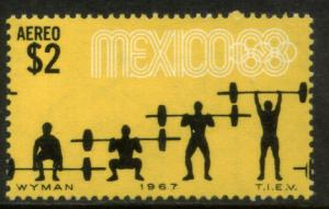 MEXICO C330, $2P Weightlifters 3rd Pre-Olympic Set 1967. MINT, NH. VF.