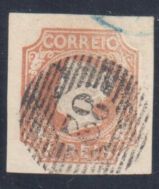 Portugal #1 used, 1853  5r Reddish Brown - Full margined single with clear grid