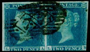 SG14, 2d blue, USED. Cat £170. PAIR. LA LB