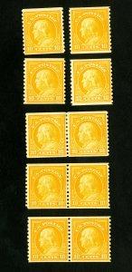 US Stamps # 497 F-VF Lot of 10 OG H Scott Value $175.00