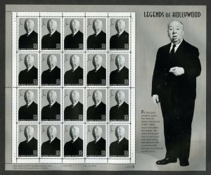 US Scott 3226  Alfred Hitchcock Mint NH pane of 20 Hollywood