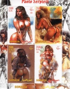 Somalia 2003 Paolo Serpieri Pop-Art Nudes Paintings Sheetlet (4) Perforated MNH