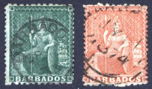Barbados 1872 1/2(d)-4(d) Perf 12x15 SG 56-57 Scott 36-37 VFU Cat £175($236)