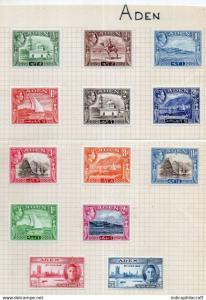 ADEN - George VI - 1939 - Superb fresh part set to 2 Rupees.lmm cv 42GBP
