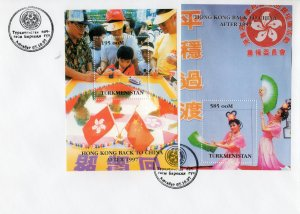Turkmenistan 1997 YT#13/14 HONG KONG BACK TO CHINA 2 Souvenir Sheets Perf. FDC