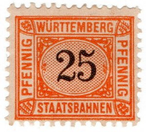 (I.B) Germany Railway : Wurttemburg Staatsbahnen 25pf