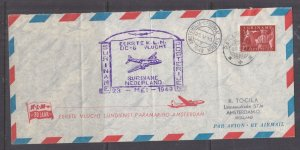 SURINAME, 1949 KLM First Flight Airmail cover to Netherlands.