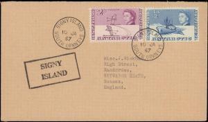 BRITISH ANTARCTIC TERRITORY 1957 CACHET / CANCEL SIGNY ISLAND