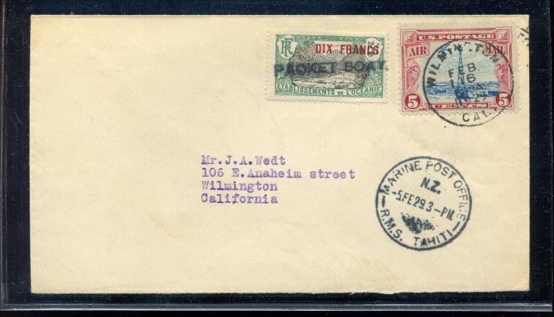 1929 Tahiti to California Marine Post Packet Boat Dual Stamp