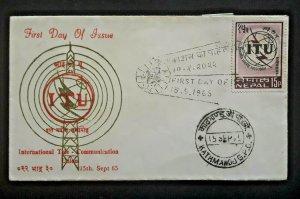 1965 Kathmandu Nepal International Telecommunications 1st Day Illustrated Cover