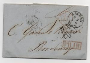 Stampless Cover Germany Aachen 1853 45 O/P PR 111 Postal History