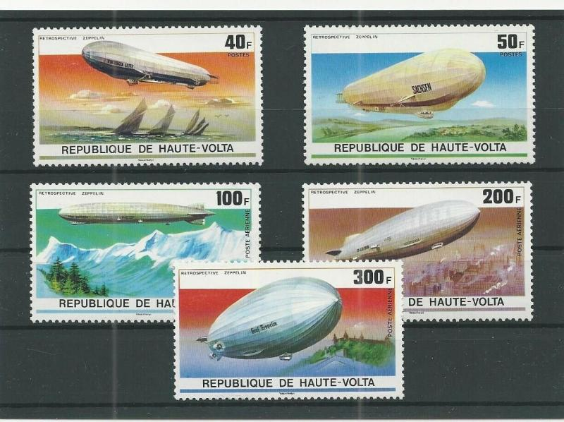 TRADE PRICE STAMPS UPPER VOLTA ZEPPELINS SET OF FIVE 1976 UNMOUNTED MINT
