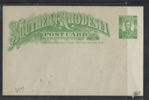 SOUTHERN RHODESIA  COVER  (P1002BB)  KGVI  1/2 D   PSC     UNUSED
