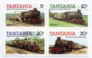 TANZANIA 271-274 MH BLOCK/4 SCV $1.40 BIN $0.70 TRAINS