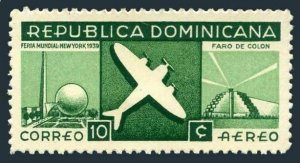 Dominican Rep C33,hinged.Michel 358. Air Post 1939.Plane,Columbus Lighthouse.