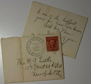 USY Hand Cancel Littleton Common MA 1904 Letter Contents Sc# 319