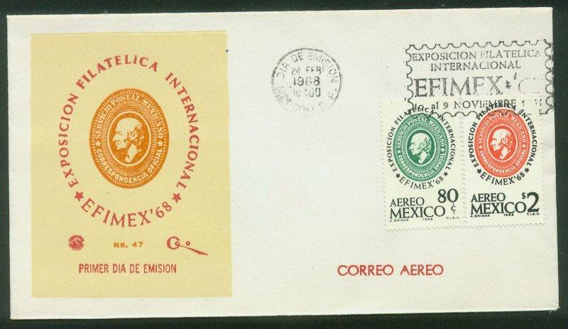 MEXICO C333-C334, EFIMEX'68 PHILATELIC EXPOSITION. FDC VF. (150)