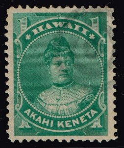United States>Possessions Hawaii # 42 1c GREEN 1882 USED STAMP
