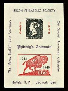 1940 Centennial Anniversary Postage Stamp Bison Philatelic Society