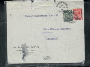 MOROCCO COVER (PP2912B) 1935 KGV 2 STAMP COVER LARACHE TO GERMANY