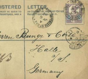 GB RAILWAY MAIL Registered *Moorgate Street* STATION CDS Cover 1893 Germany R50b