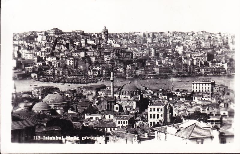 Turkey 1953 Real Photo Panorama of Istanbul Tourist mail to California