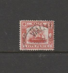 Malta 1904/14 5d Vermillion Used SG 59