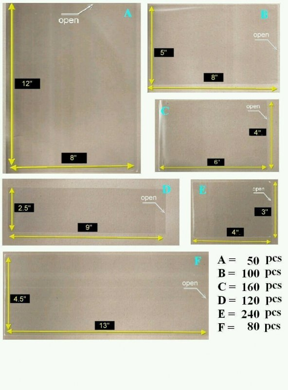 *FREE SHIP OPP Plastic Sleeve with 6 Diff Sizes [Combo Set Large Pack] for Stamp