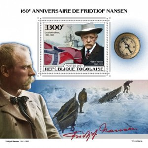 TOGO - 2021 - Fridtjof Nansen - Perf Souv Sheet - Mint Never Hinged