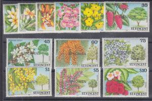 St. Vincent Sc 719 var-730 var MNH. 1984 Flowers w/ Specimen Overprints