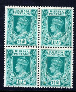 BURMA King George VI 1938 1½ As. Turquoise-Green A BLOCK OF FOUR SG 23 MINT