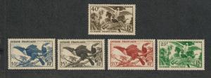 Fr. Guiana Sc#204-208 M/LH/VF, Complete Set, Birds, Cv. $34.70